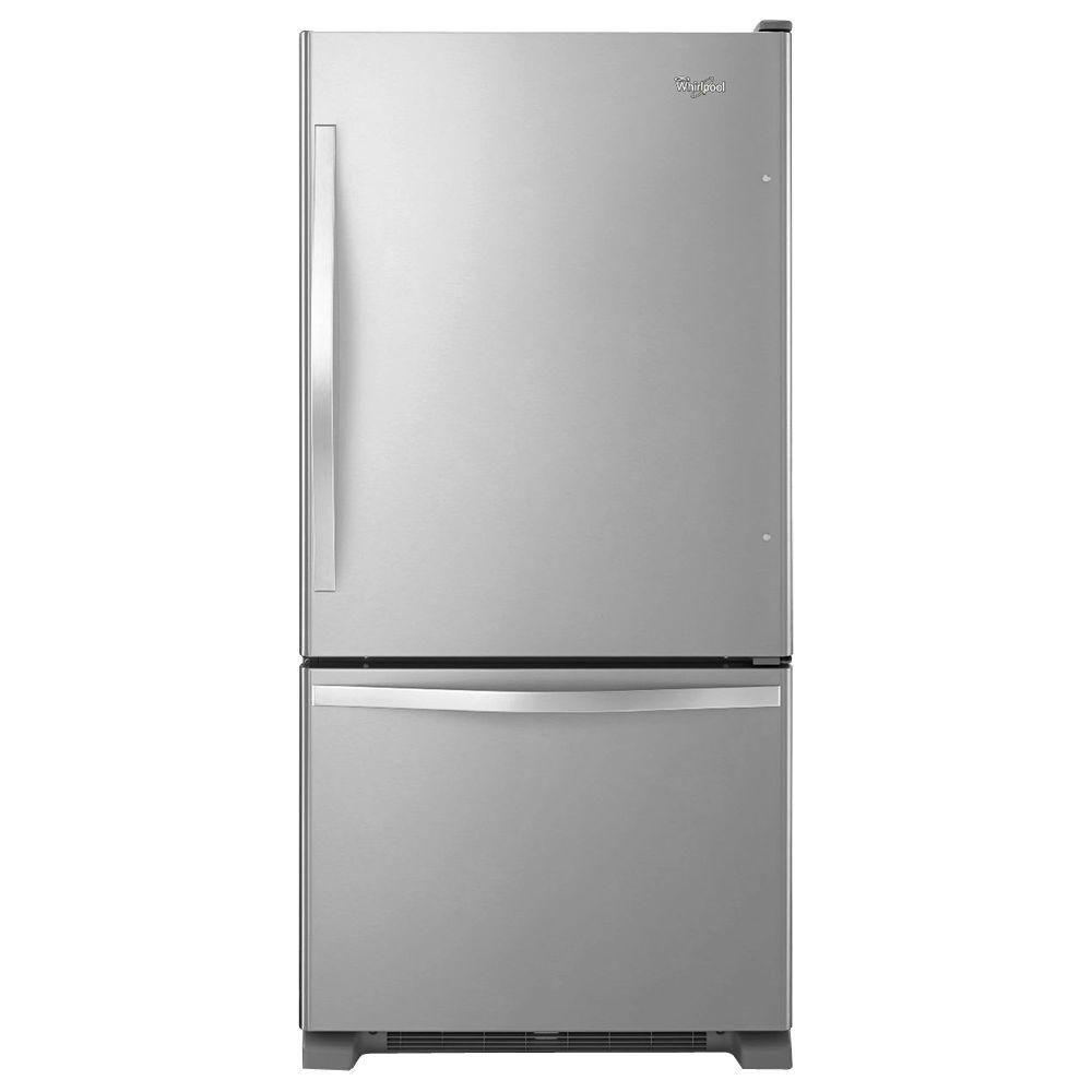 The Whirlpool 22 cu. ft. Bottom Freezer Refrigerator in Stainless Steel offers the best capacity and features for the price you pay.