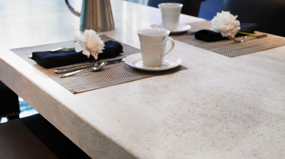 Formica counter with place settings