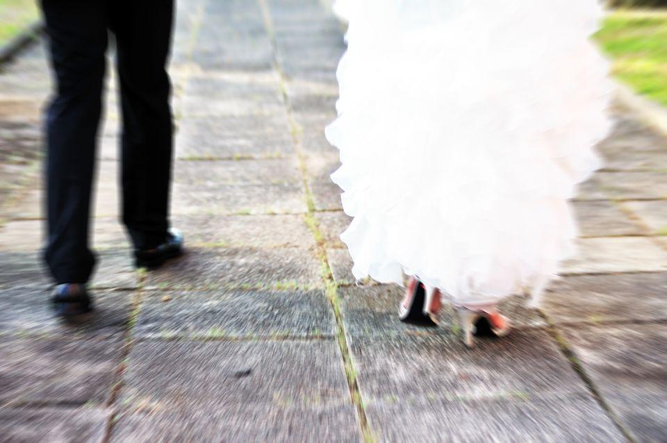 Run away bride and groom