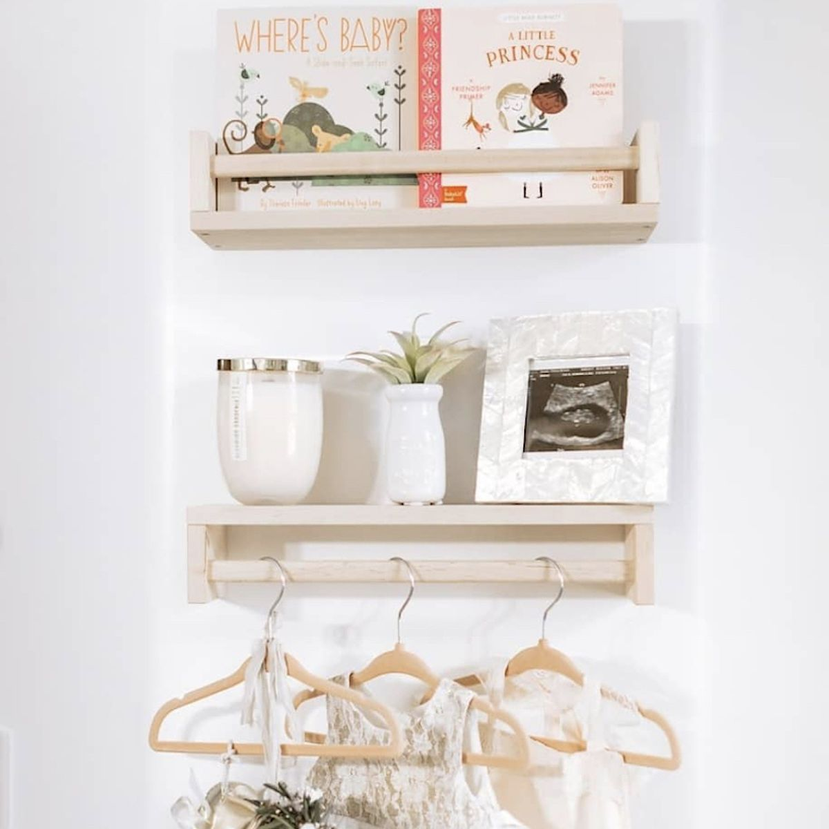 floating shelves, one with hanging rod for hangers
