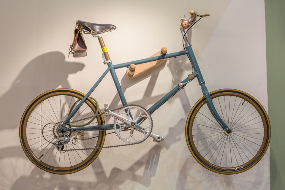 Bike stored by wall mount