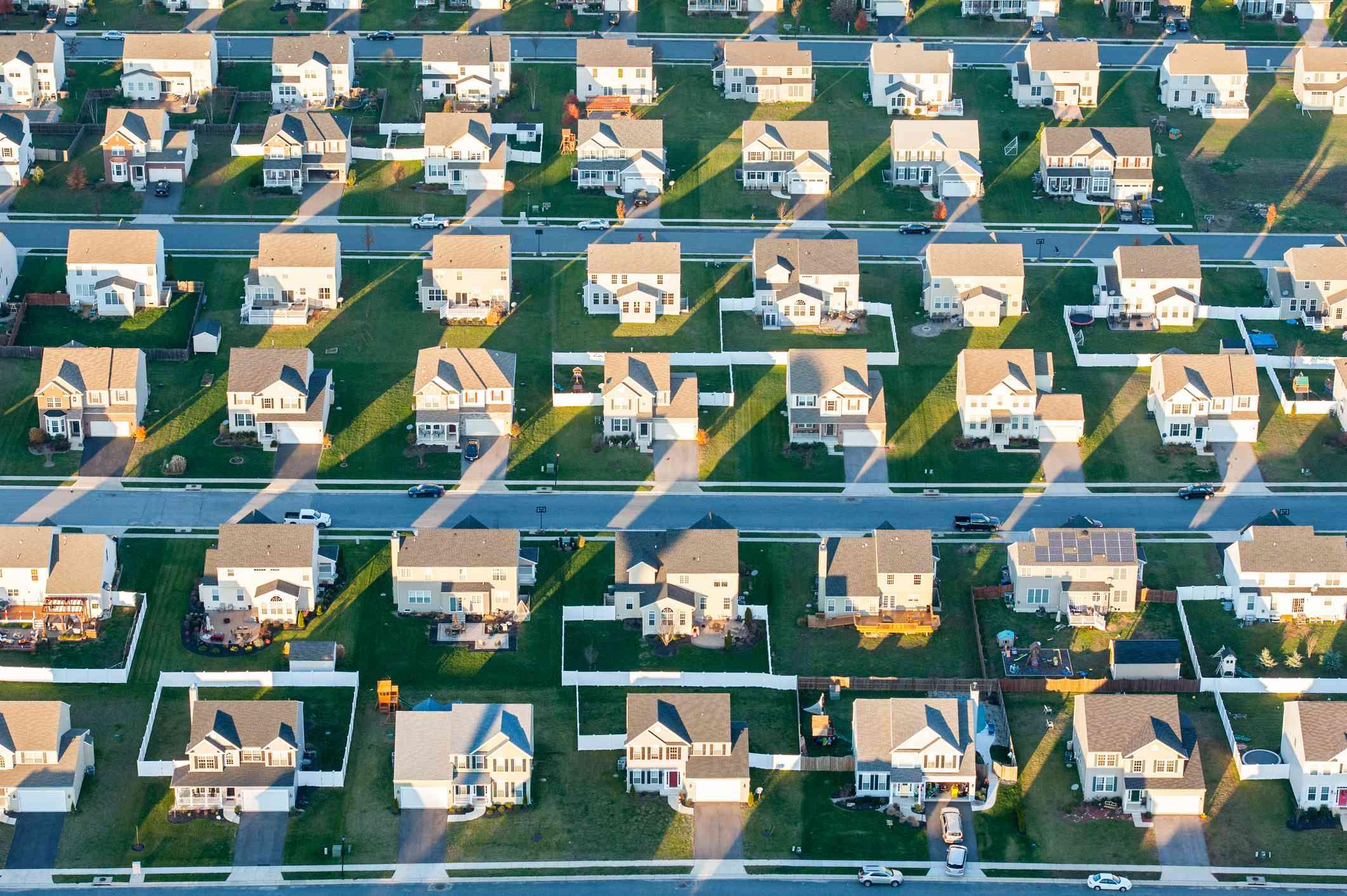 A tract housing development.