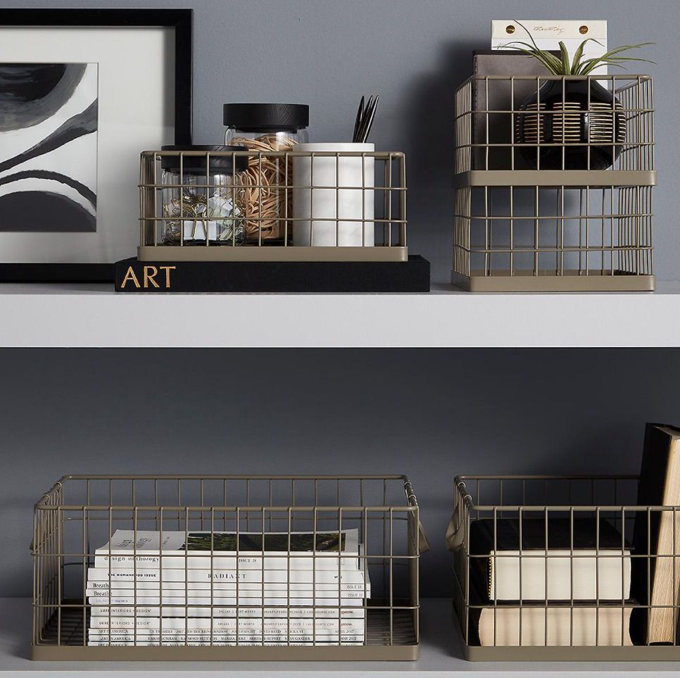 Taupe Stacking Wire Bins