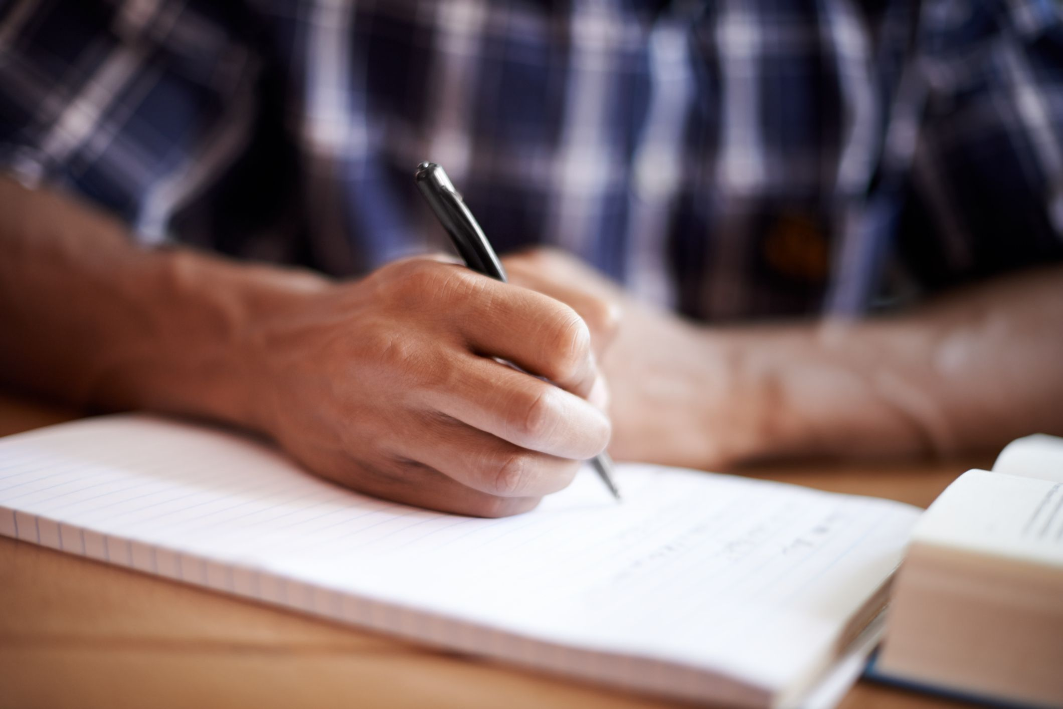 A man studying for a test