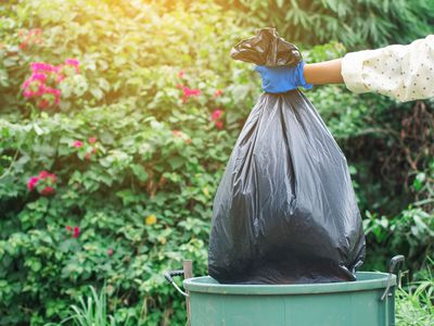 Cropped Image Of Volunteer Holding Garbage Bag Over Can Against Trees