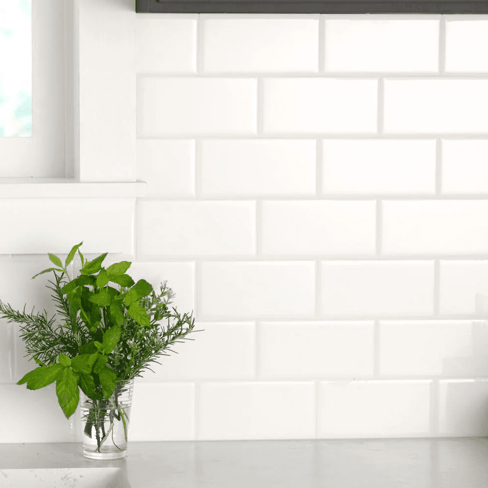 White subway tiles, currently for sale at Home Depot