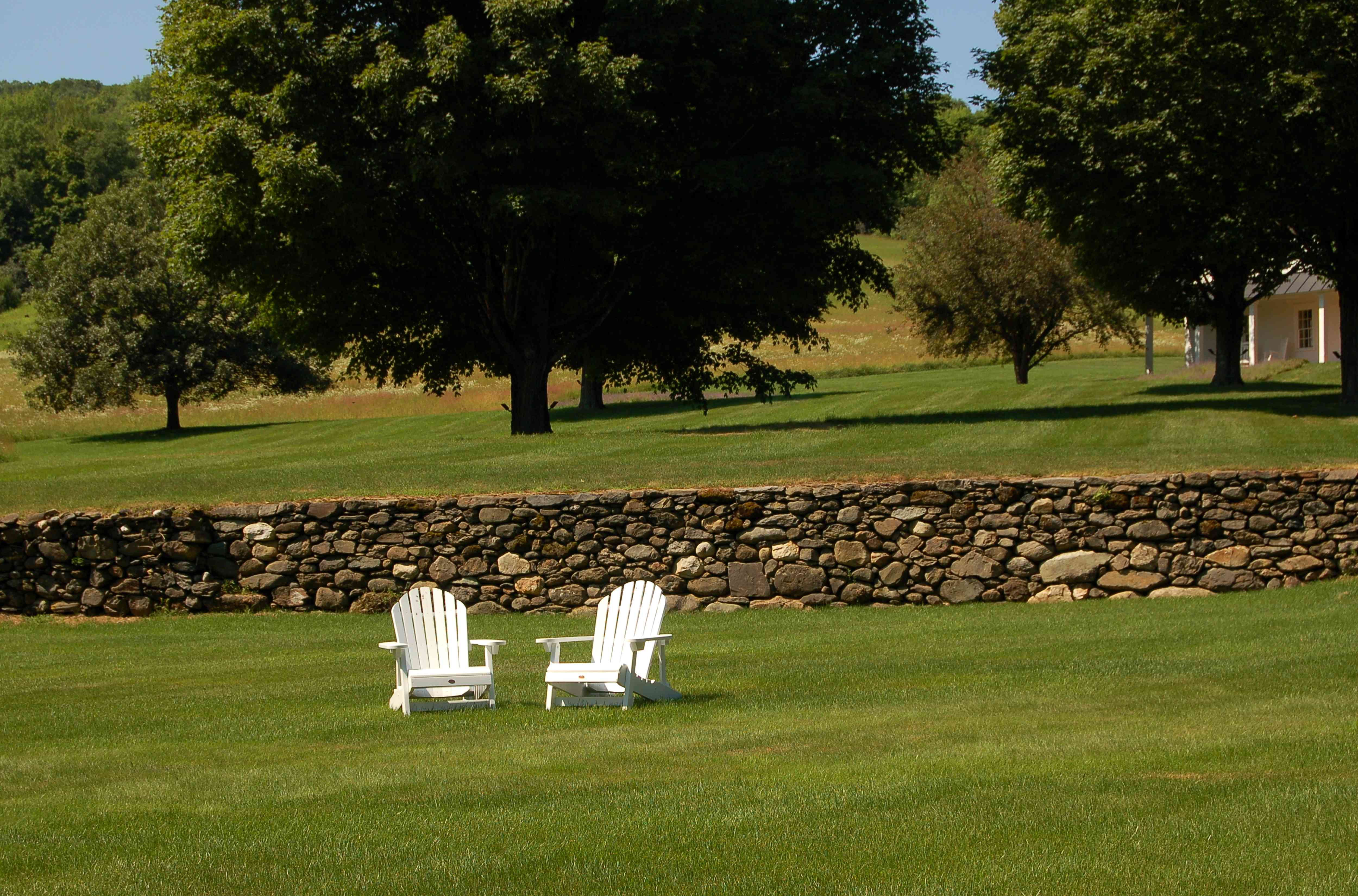 Chairs serving as focal point on big lawn.