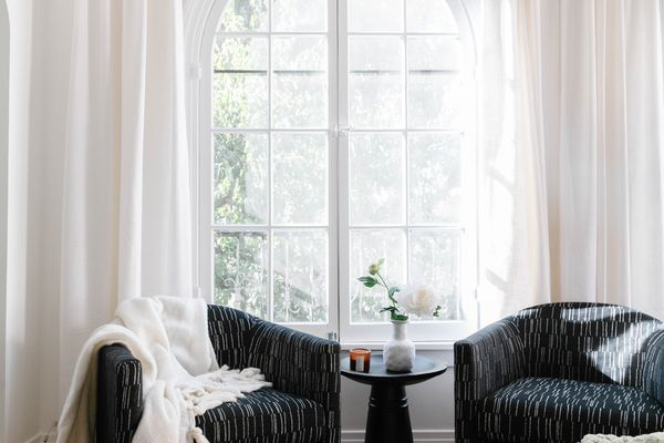 window treatments in the home of drew scott, the lone wolf