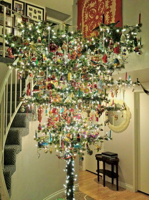 decoraciones vintage de árbol de navidad al revés