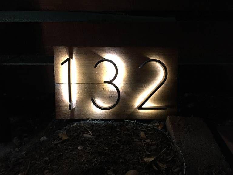 LED backlit house number sign.