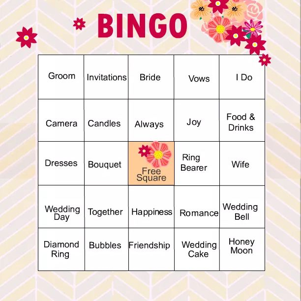 a bridal shower bingo card in pink peach and yellow