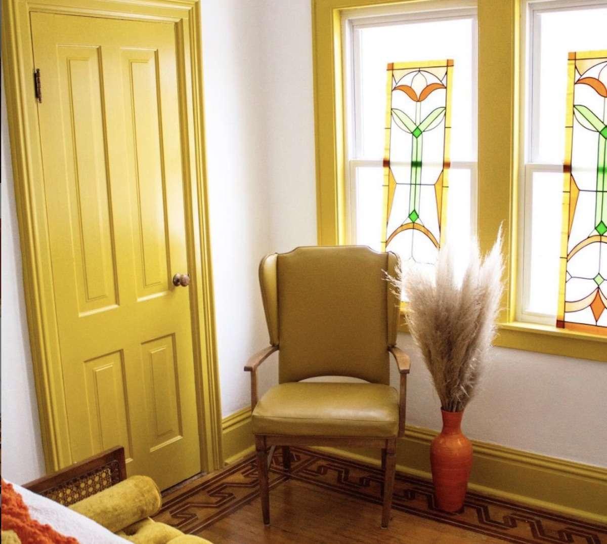 monochromatic yellow bedroom