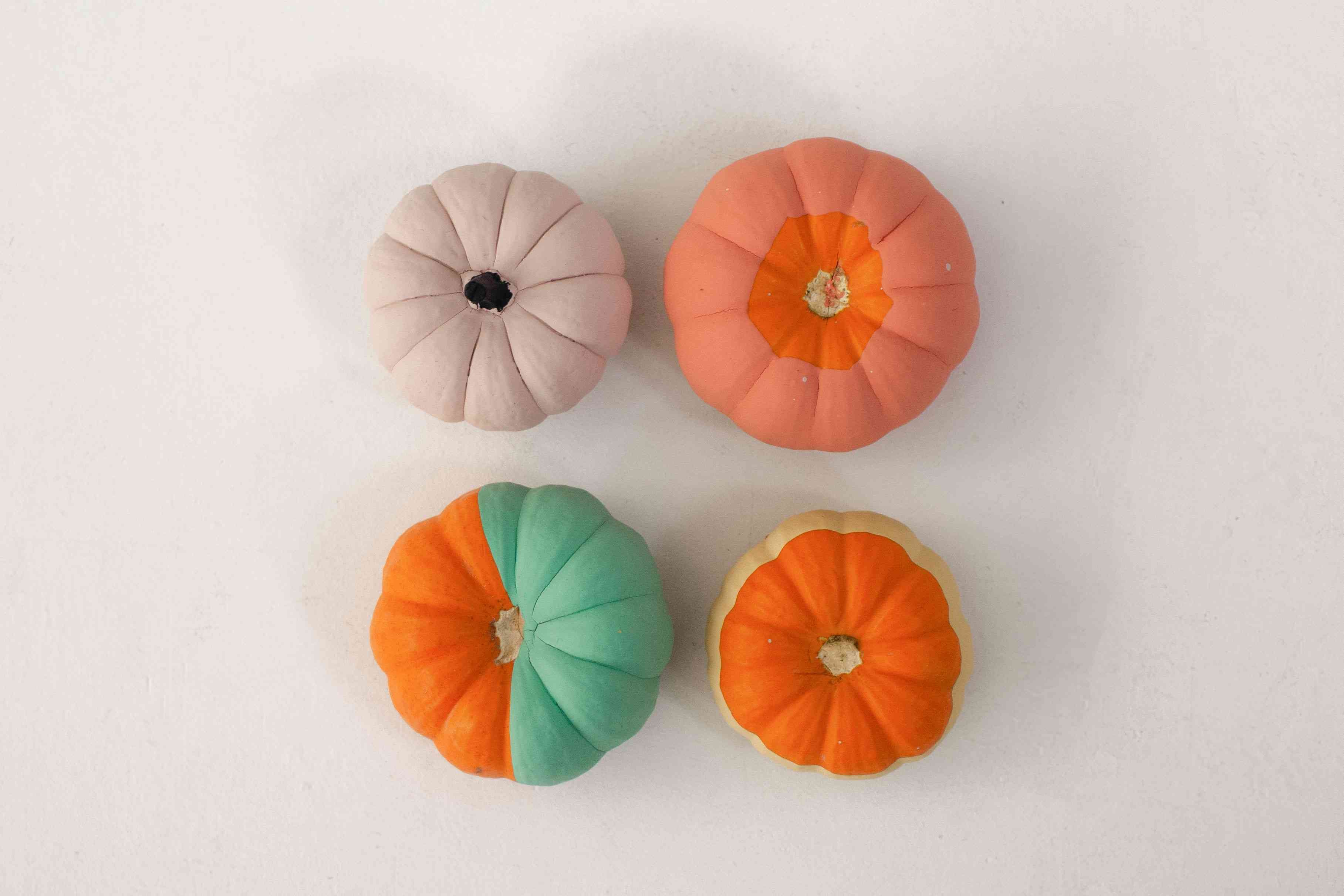 Painted pumpkins on white background