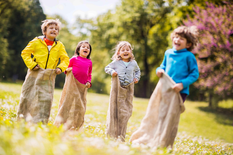 Children having sack race.