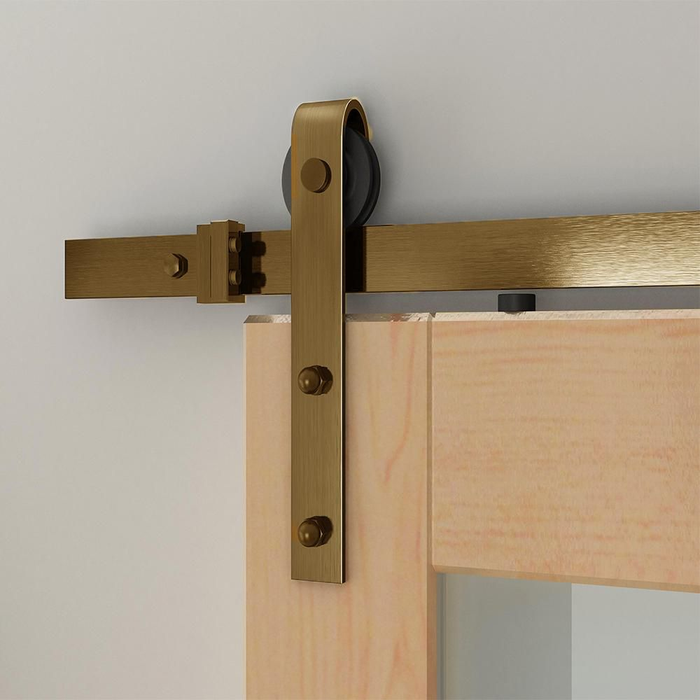 Soft Closed Satin Brass PVD Rolling Barn Door Hardware Kit
