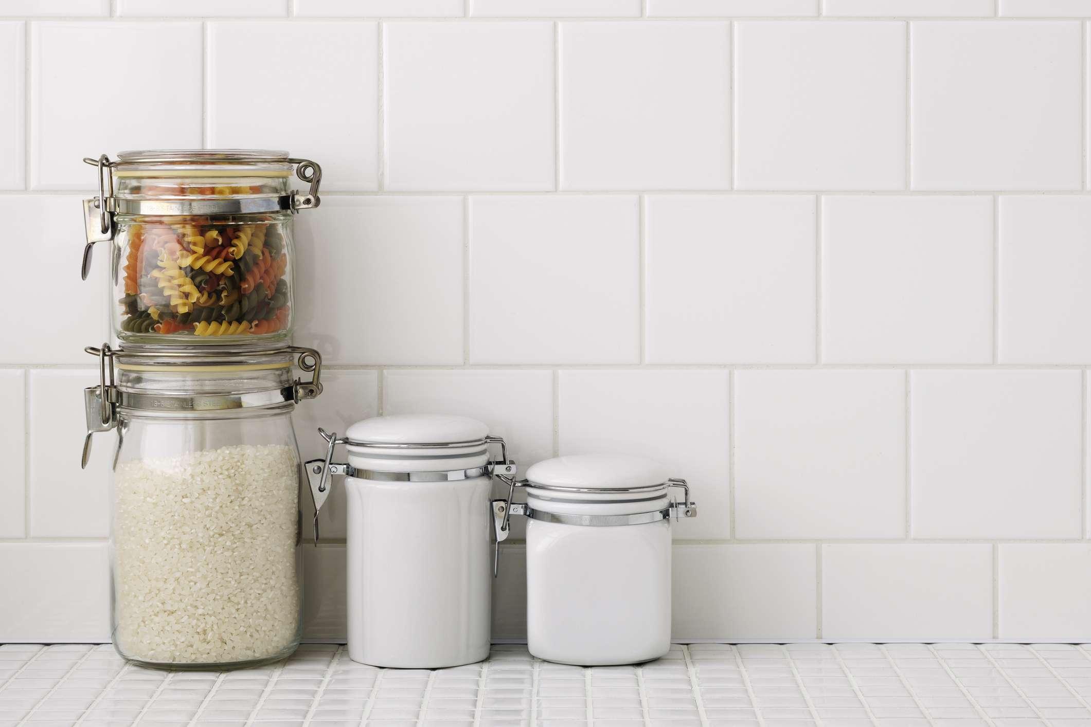 White tile countertop
