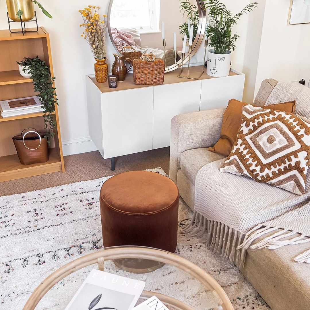 Living room with burnt orange accents