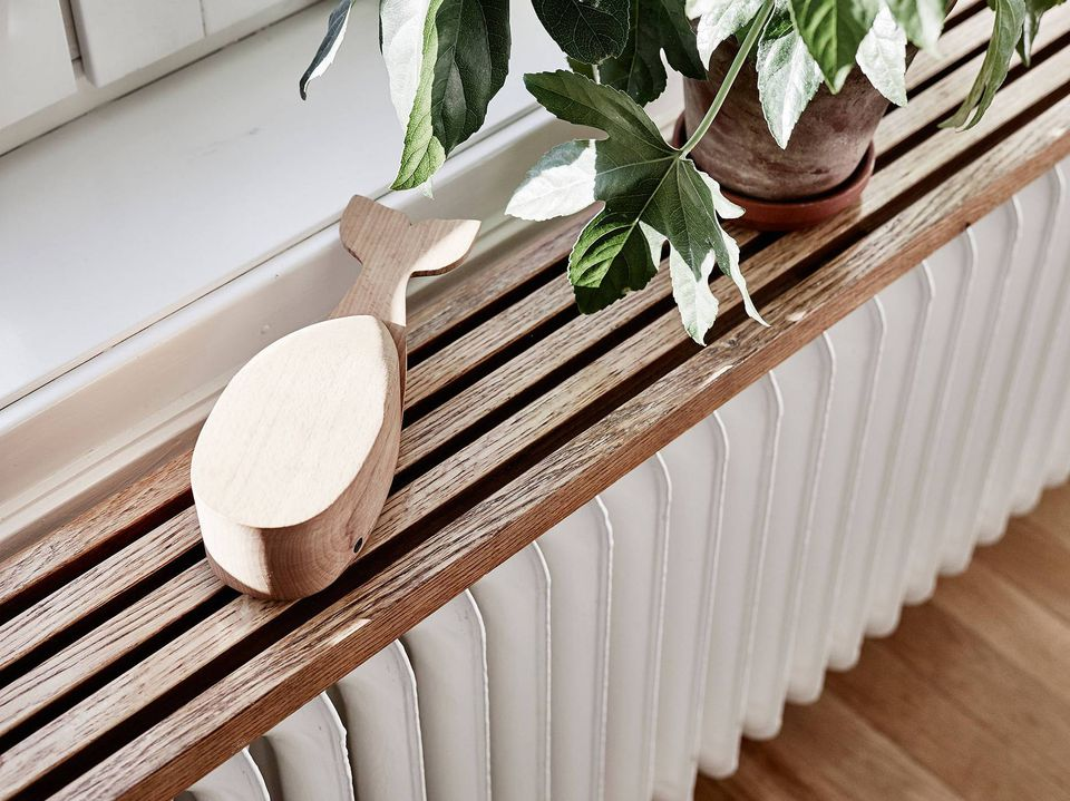 wood shelf above a radiator