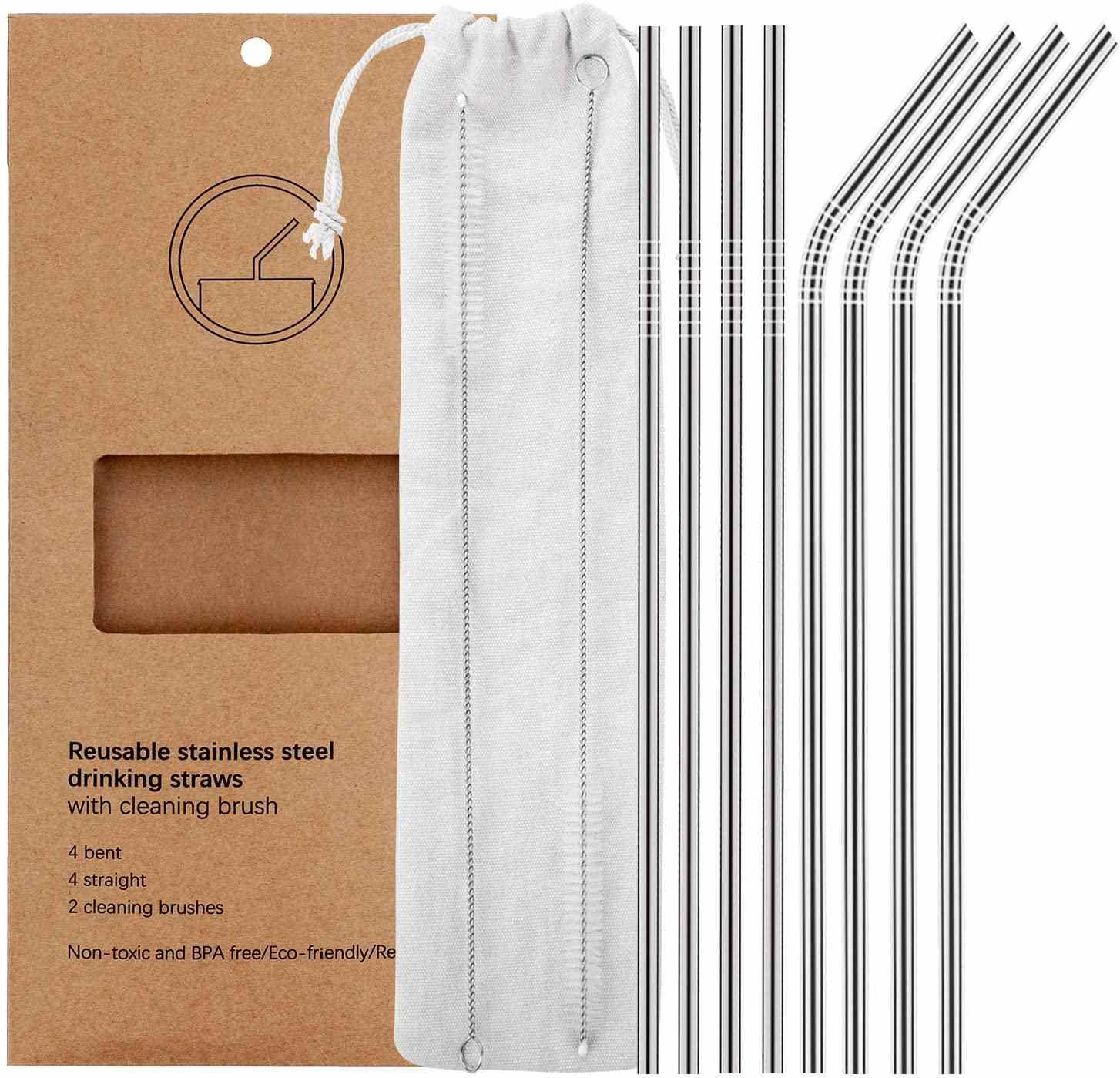 YIHONG Set of 8 Stainless Steel Metal Straws