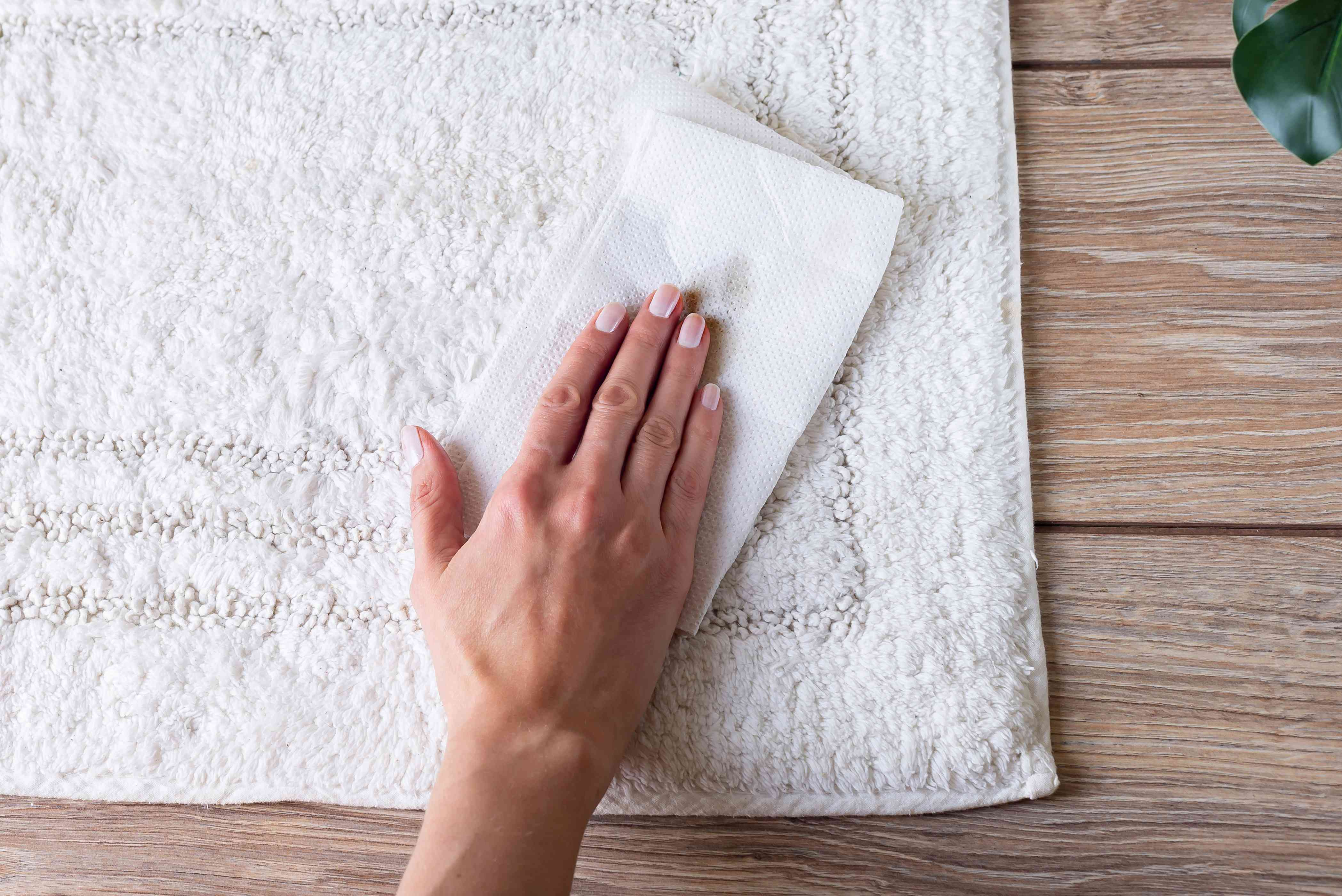 blotting the stain dry