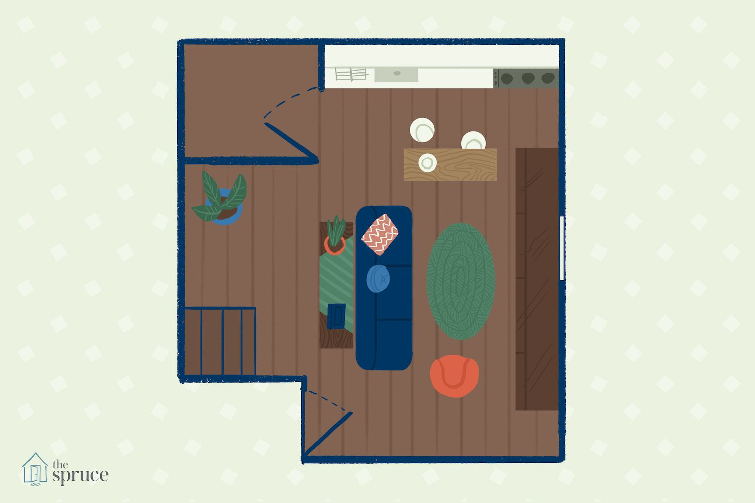 small living room illustration with storage