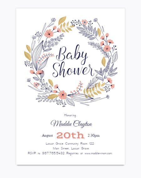 19 sets of free baby shower invitations you can print a baby shower invite with a wreath of flowers filmwisefo