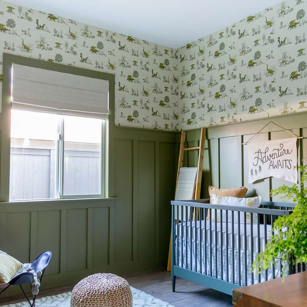 Sage-green, dinosaur-themed nursery