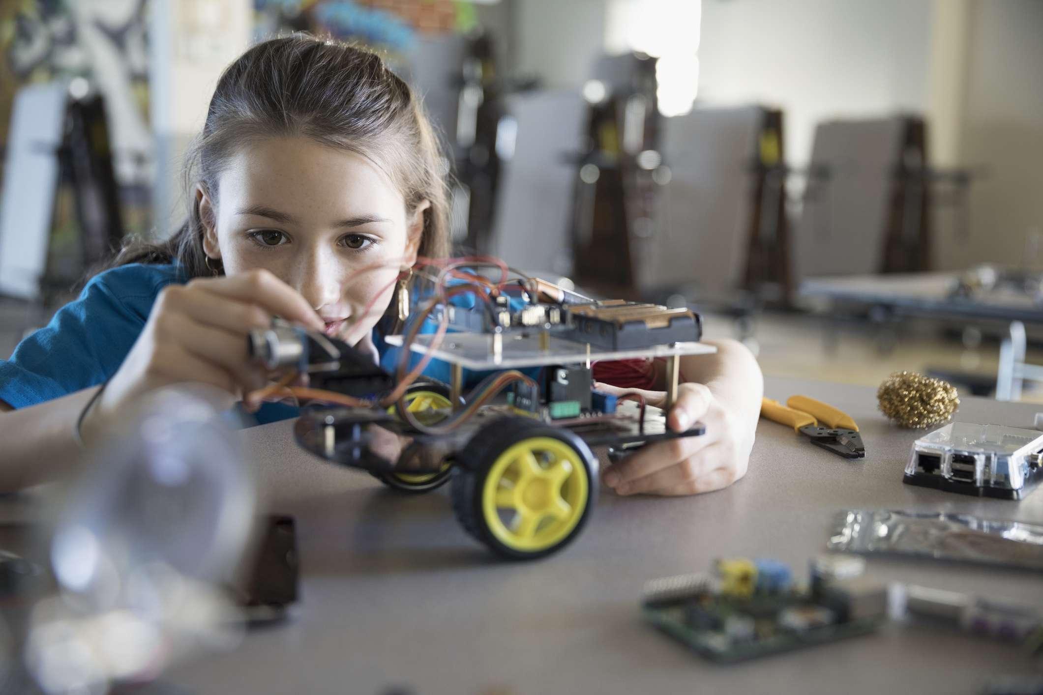 Girl building a model