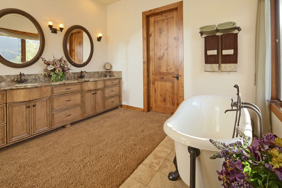 Wood-toned bathroom with carpeted floor