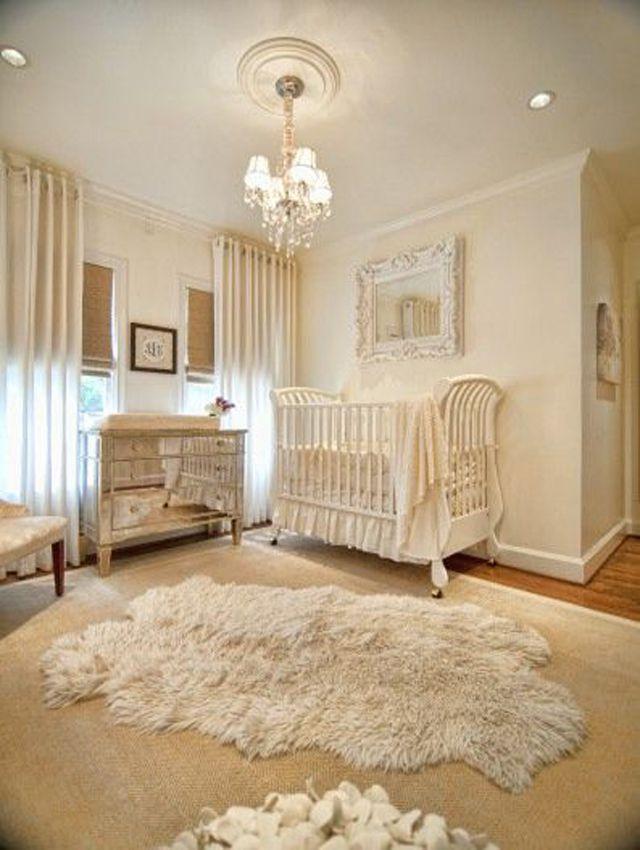 Soft white nursery room