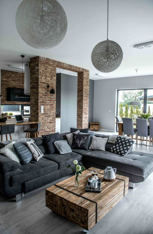Beautiful Shades Of Gray Sofas In A Modern Living Room