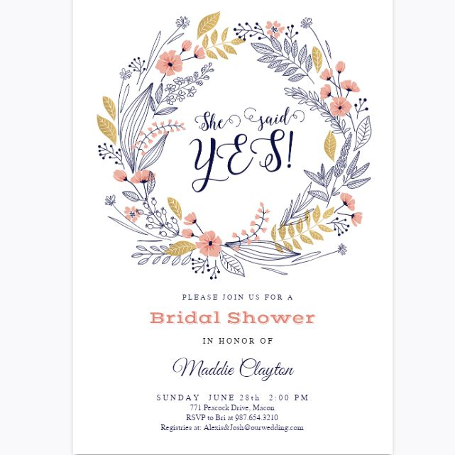 7b98a708e0b3 A floral wreath bridal shower invite