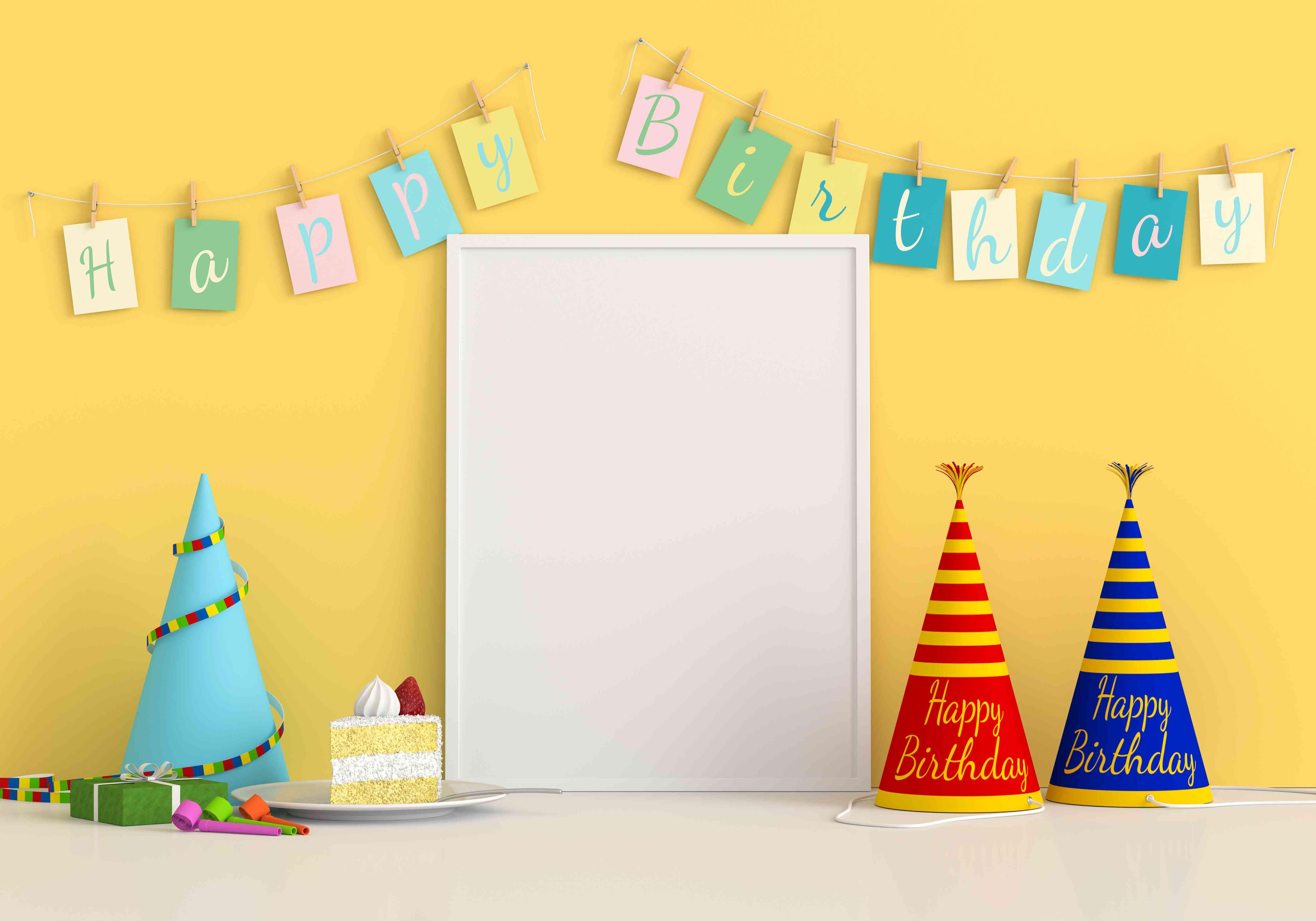 Blank photo frame for mockup on floor, Happy birthday concept