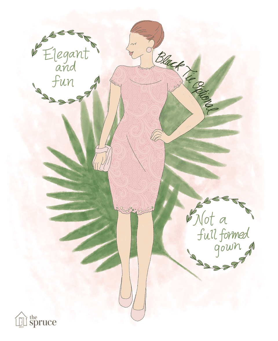 What to wear to a summer wedding illustration of black tie optional summer wedding attire junglespirit Image collections