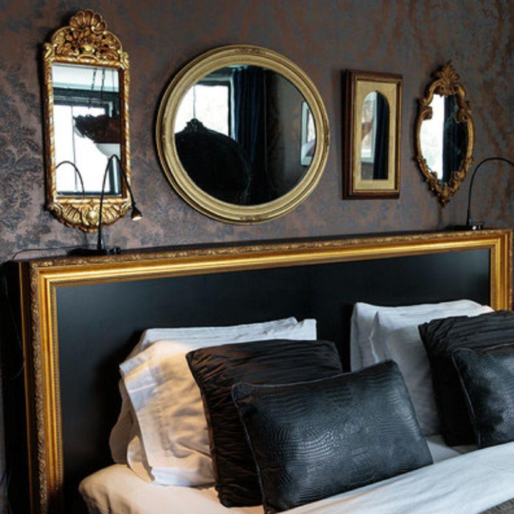 Mirrors in Hollywood regency bedroom