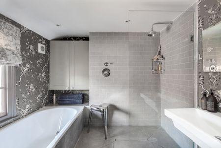 All Gray Feminine Master Bathroom Arq A Interiors