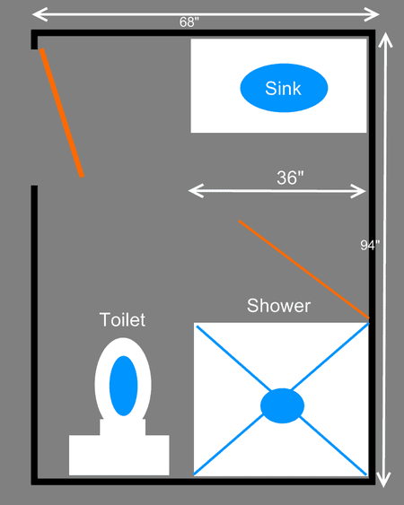 3 Piece Bathroom Floor Plans