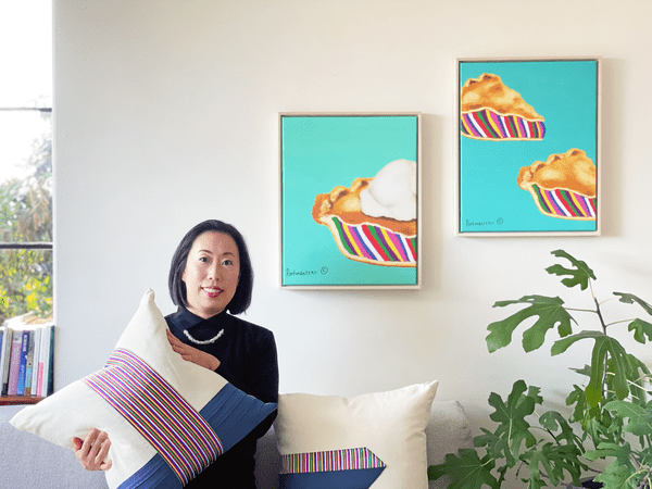 Sunny Hong displaying pieces from the Portmanteau Home collection