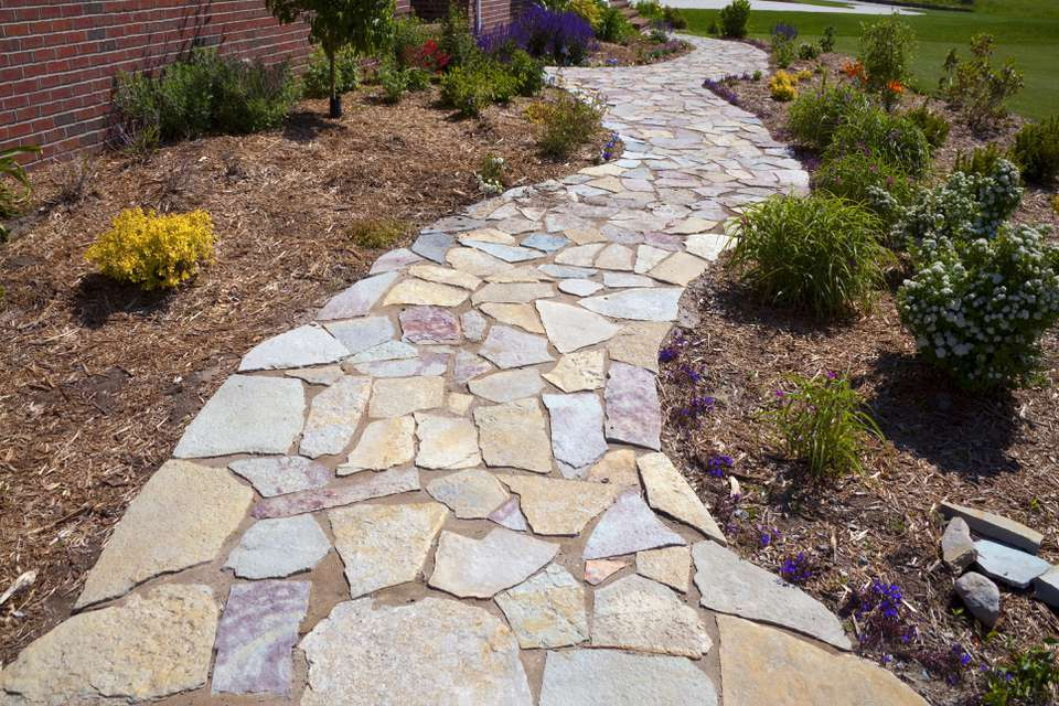 Landscaping Accents; Colorful Natural Paved Field Stone Sidewalk Yard Path