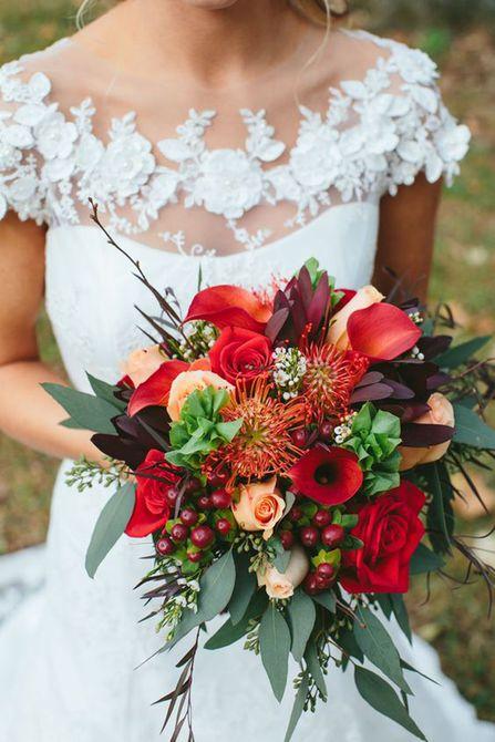 Bouquet de lirios rojos