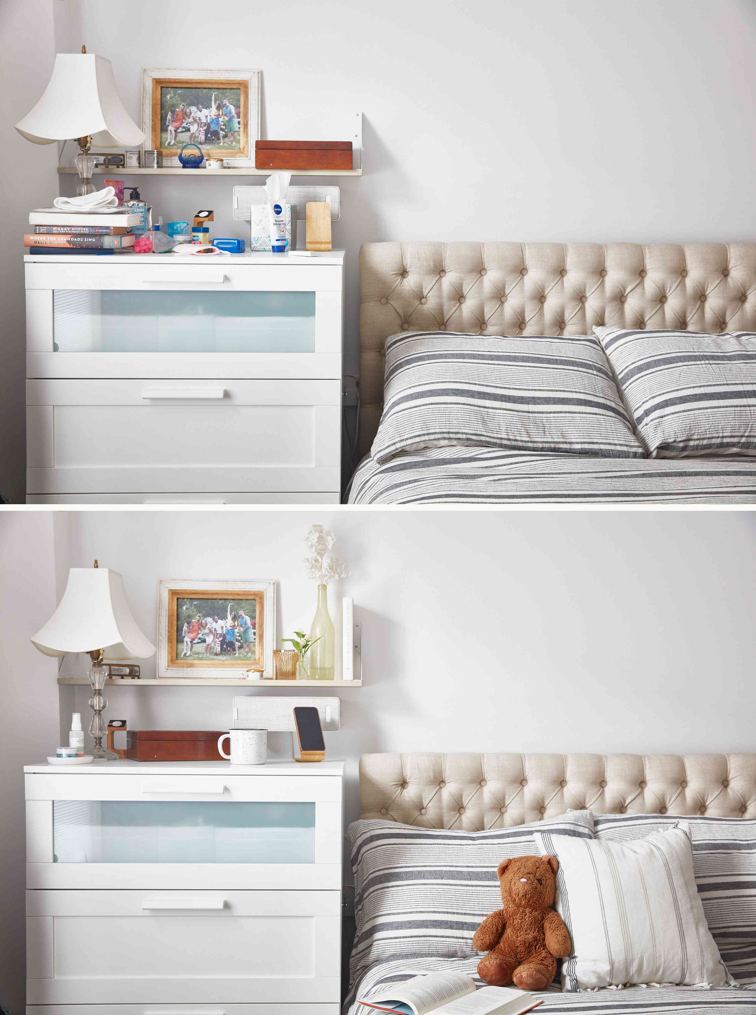 Before and after bedroom corner