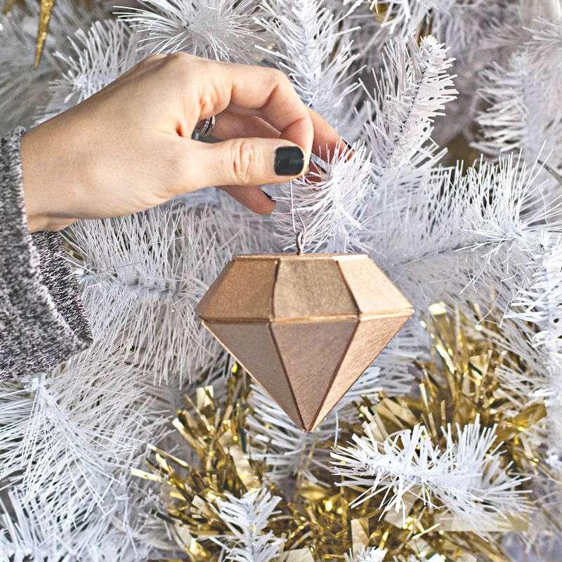 a wood gold diamond ornament