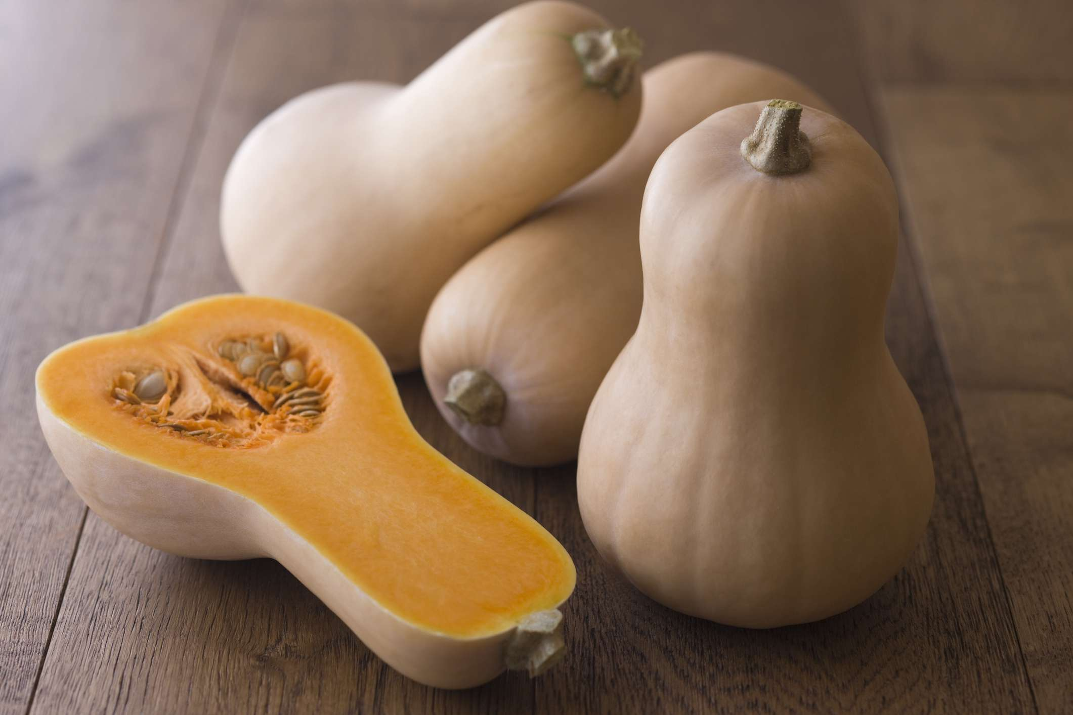Whole and Halved Butternut Squash