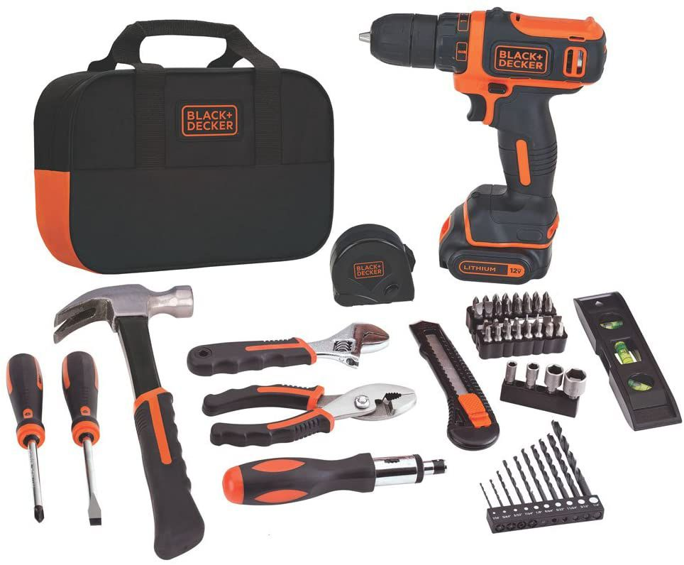 12V Max Drill 60-Piece Home Tool Kit