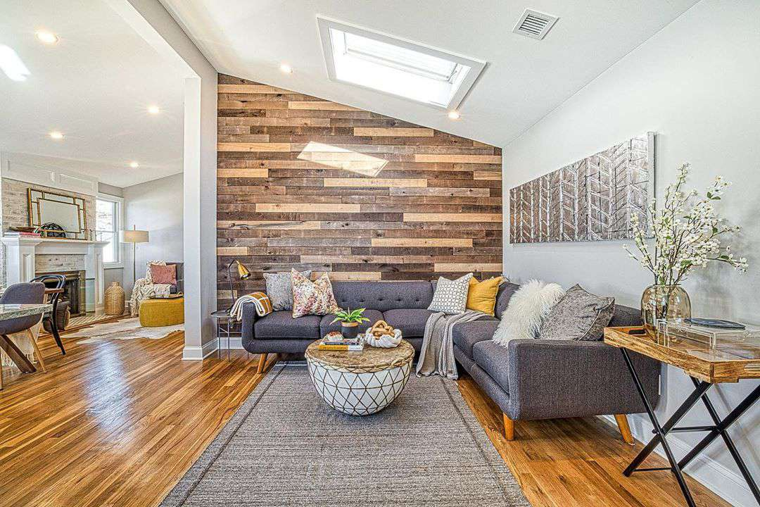 16 Living Rooms With Accent Walls, Wood Wall Living Room