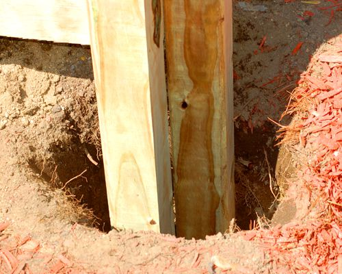 Post holes for raised garden beds.