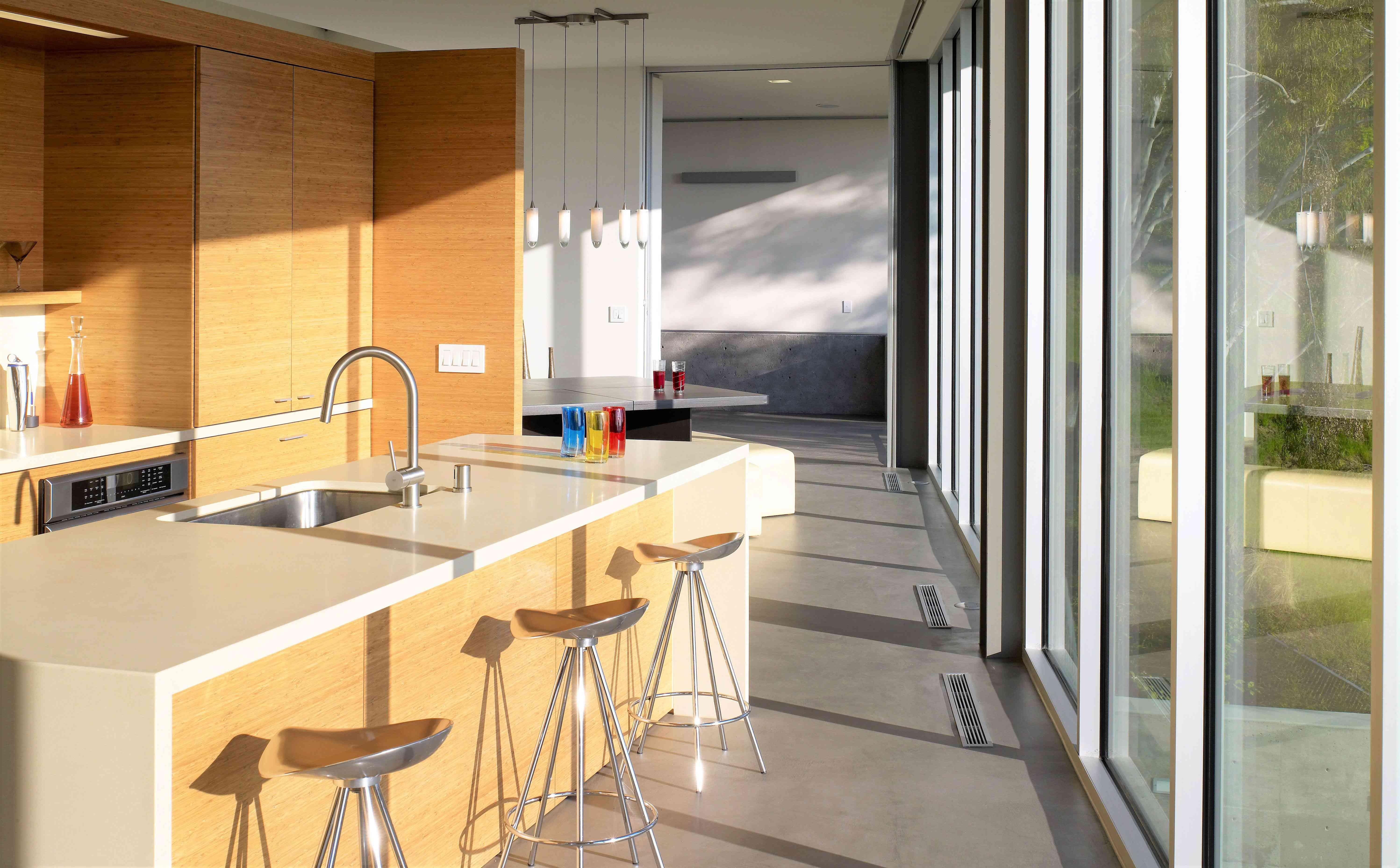 concrete floor in a kitchen