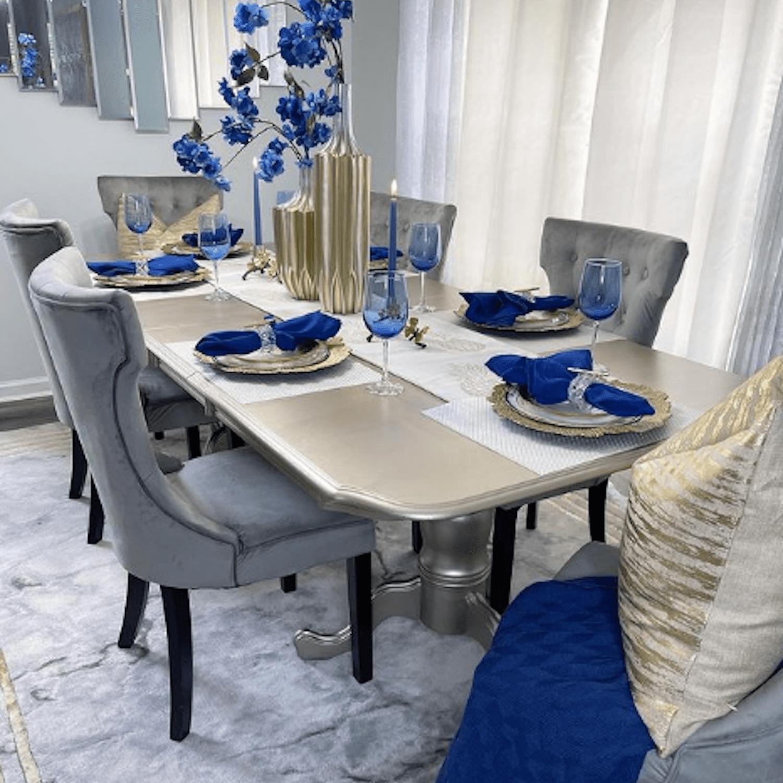 blue floral dining room