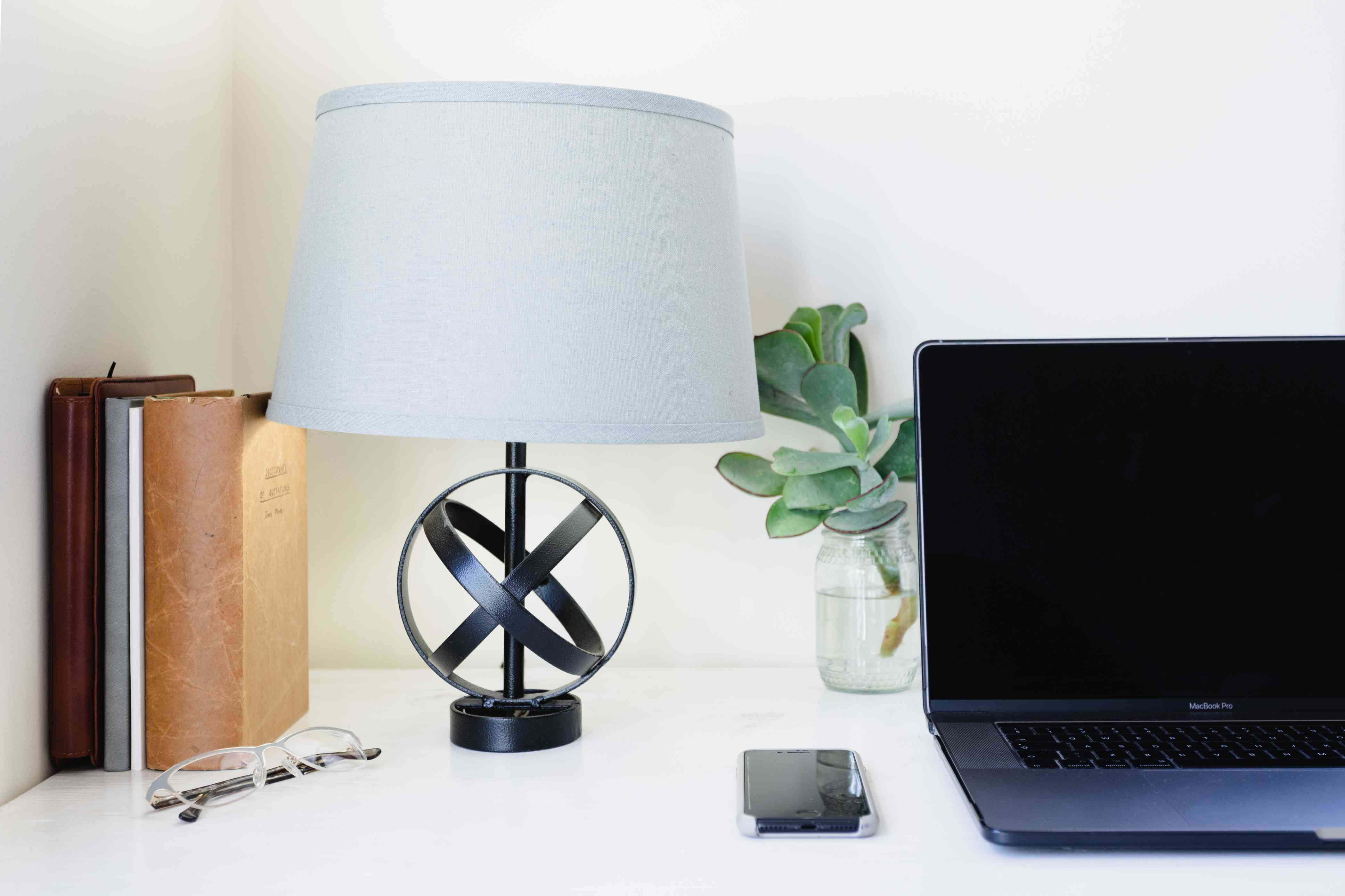 lamp in a home office