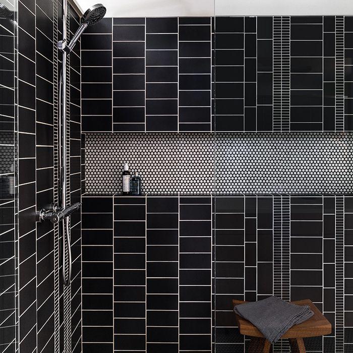 Black graphic shower tile
